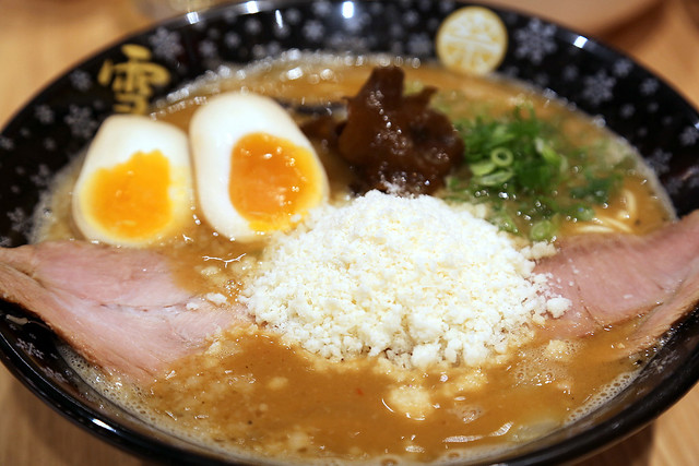 "Tonkotsu Ramen YUKI MATSURI - Cheese ""snow"" with miso stock"
