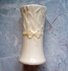 Vintage Belleek Irish porcelain bud vase with yellow ribbon design