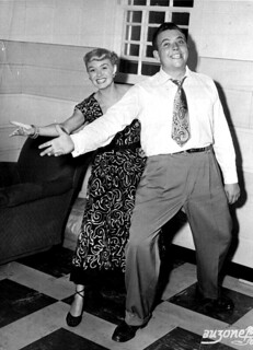 Jazz singer June Christy clowning with DJ Rick Hollister