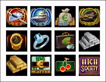 free High-Society slot game symbols