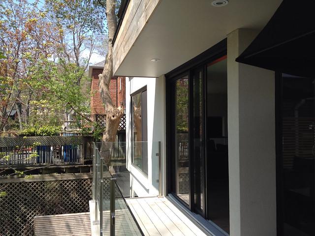 patio with glass doors
