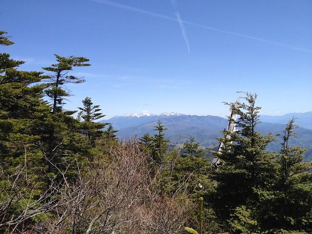 恵那山 山頂小屋裏の展望岩からの眺望 中央アルプス