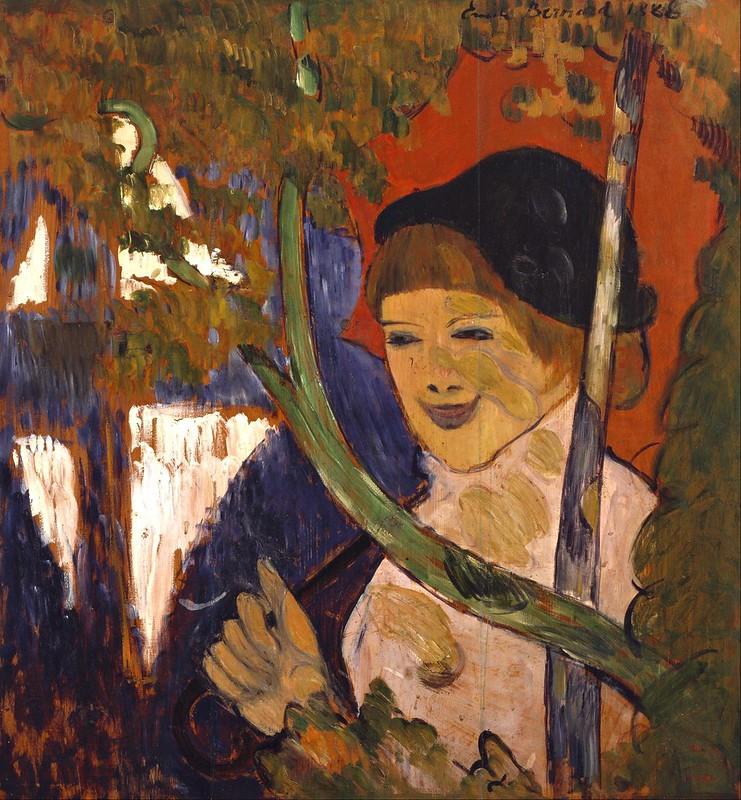 Émile Bernard - Breton Girl with a Red Umbrella (1888)