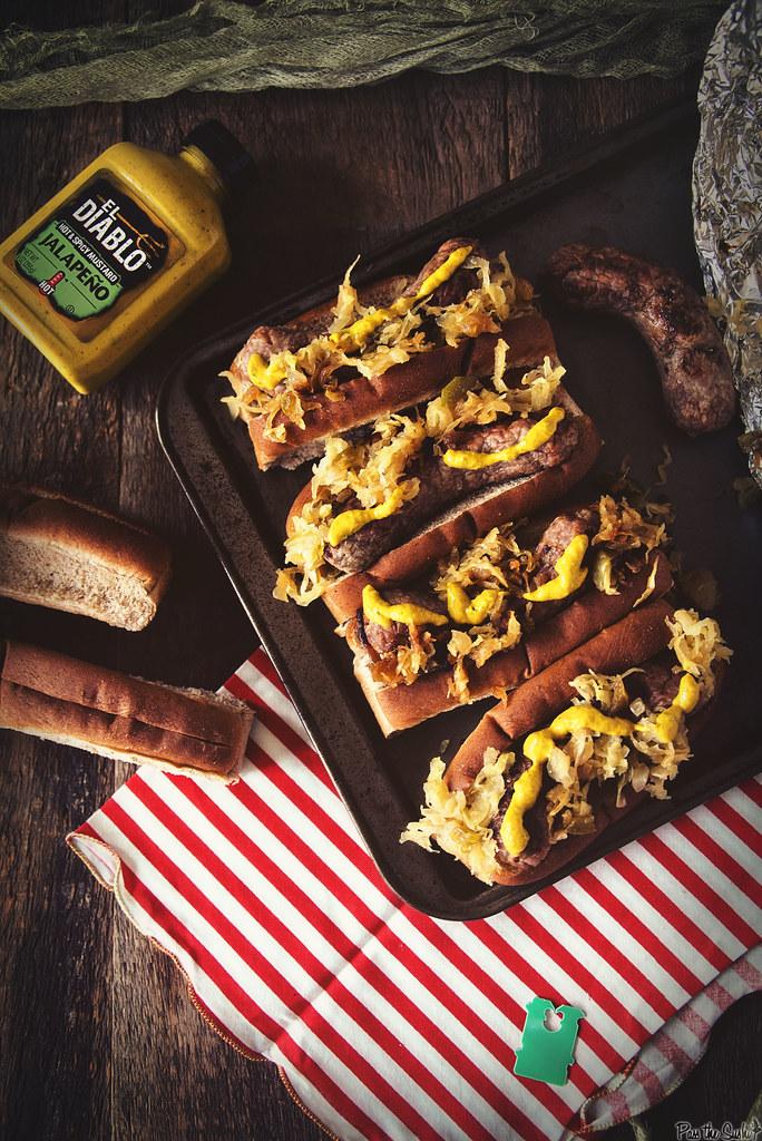 Spicy Mustard Brats with Sauerkraut #GetGrilling