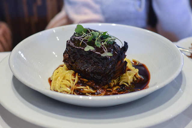 boneless braised short ribs fresh angel hair pasta, caramelized fennel butter, vin rouge