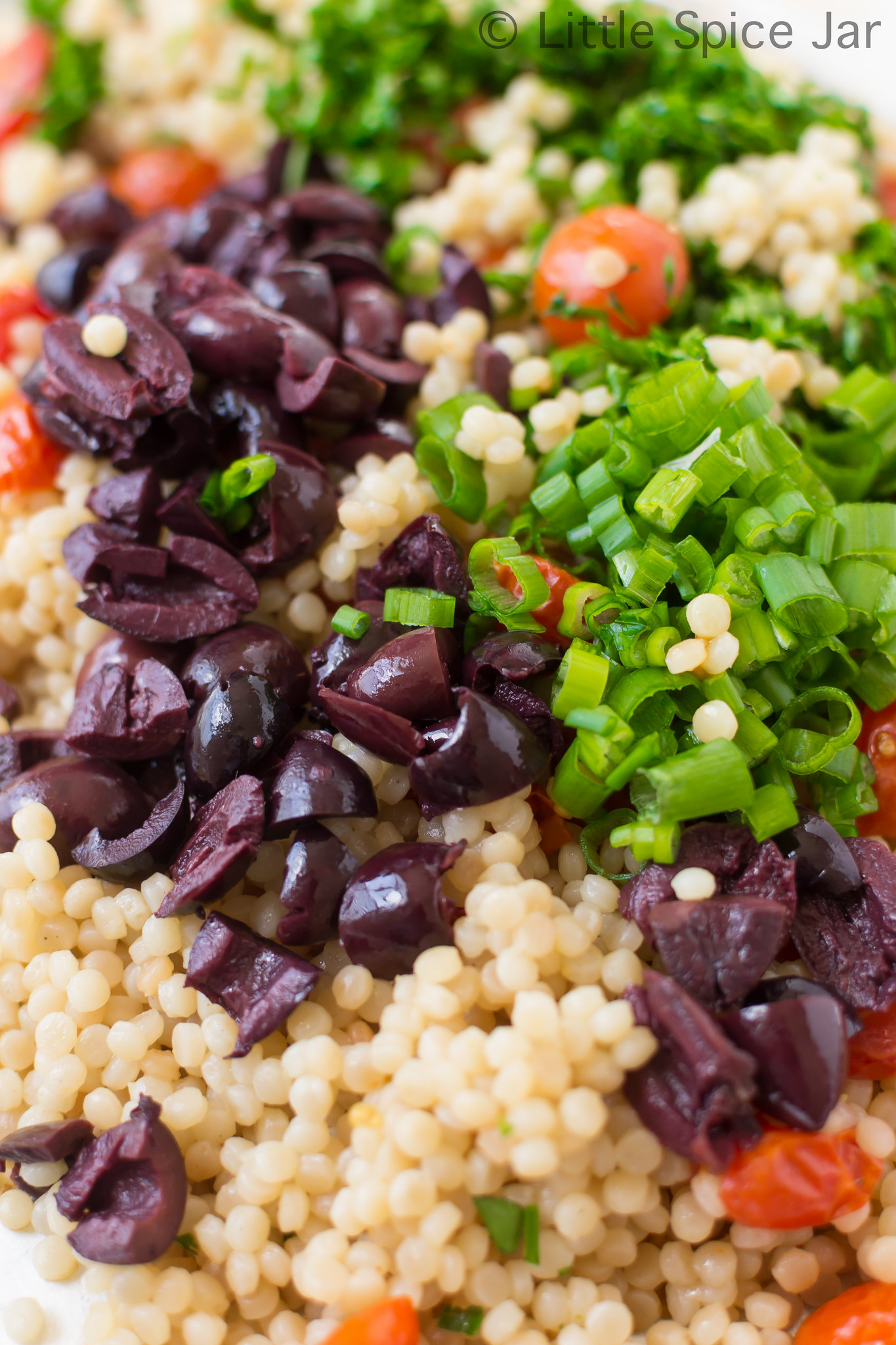 Mediterranean Pearl Couscous Salad (Israeli Couscous) Mixing Process 2