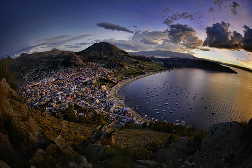 city laketiticaca titicaca nature lago town pueblo bolivia fisheye copacabana bluehour lagotiticaca greggoodman