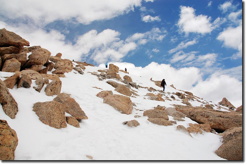 Visitors  making their way up to summit