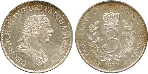 1816 George III 3-Guilders of British Guiana