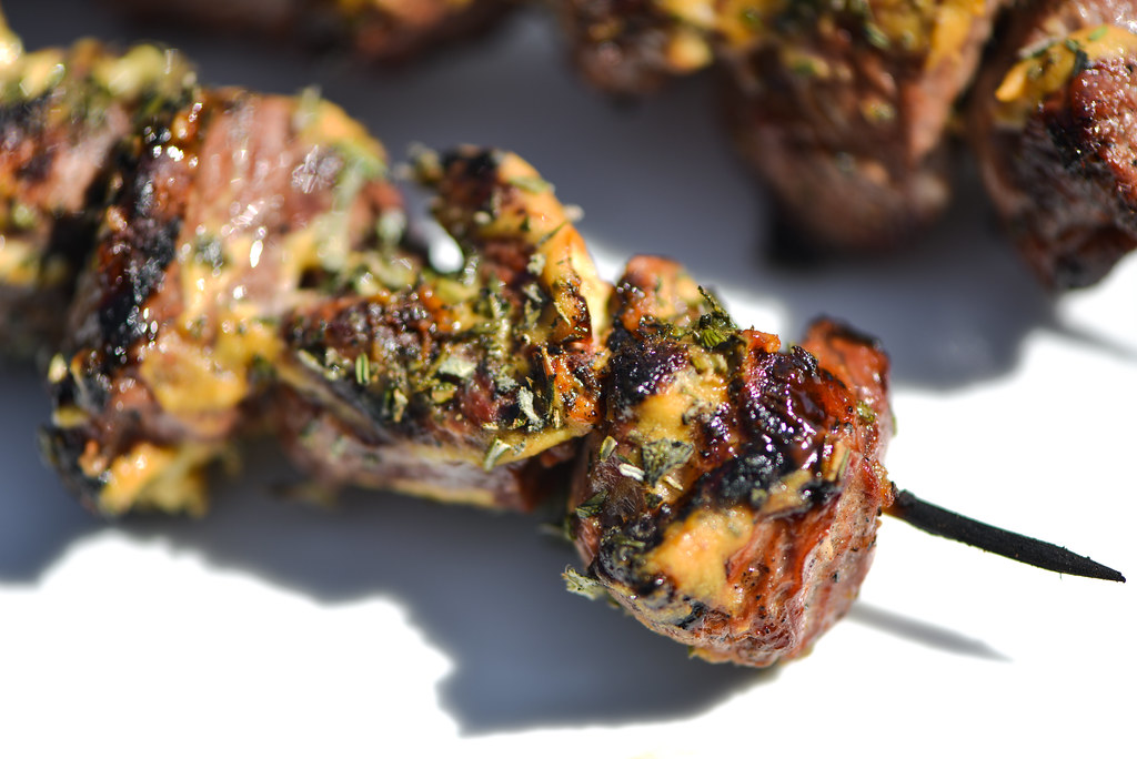 Herb-Crusted Lamb Skewers with Dijon Mustard