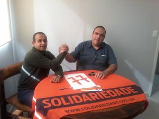Sérgio de Souza, o Serjão, liderança de São Miguel Paulista, em reunião no Solidariedade de apoio aos pré-candidatos Cláudio Prado e Paulinho da Força