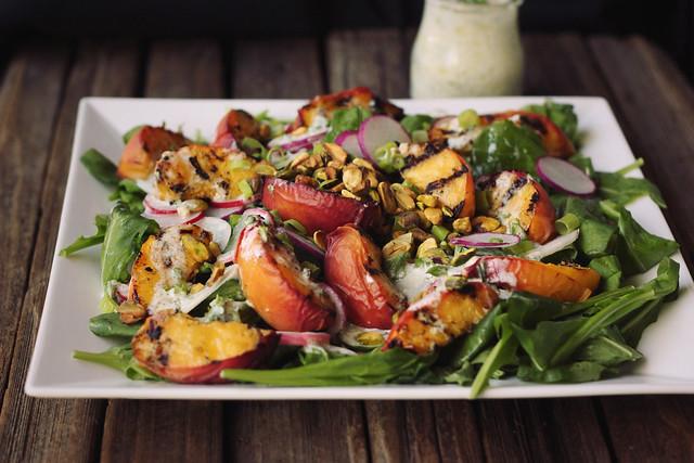 ... Peach Salad with Baby Arugula, Pistachios and Lemony Yogurt Dressing