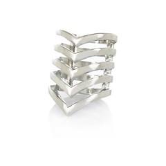 Silver-Tone-Chevron-Midi-Ring