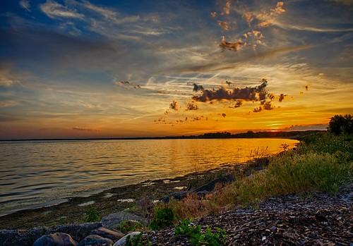 sunset sun water clouds mi day daytime harrisontownship metrobeach hdr5exp lakestclairmetropark olympusomdem1 pwpartlycloudy