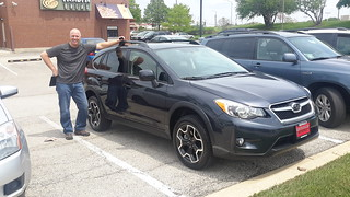 """Fred with our new Subaru """"toad"""" (towed vehicle)"""