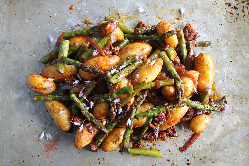 Smoky Potatoes with Asparagus and Chorizo