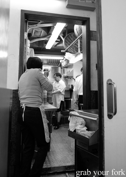 View into the kitchen at Lin Heung Tea House in Central, Hong Kong