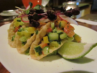 Mini tacos with guacamole at Yew