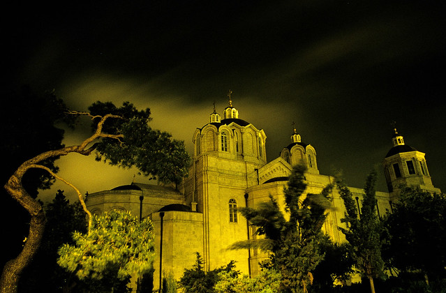 Winter storm over The Church of the Holy Trinity, Jerusalem, Israel