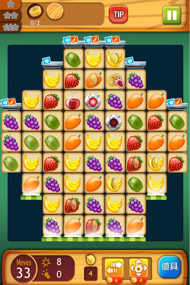 FruitKitchen水果廚房APP切水果手遊手機遊戲策略闖關CandyCrush炸彈水果刀醬油金牌道具人2人2的插画星球People2