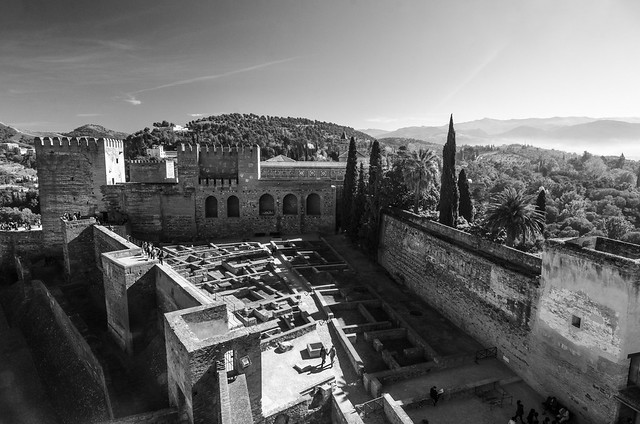 The Alhambra's Alcazaba Fortress offers stunning views of the surrounding mountains.