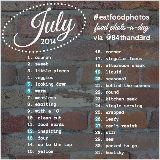 July 2014 Photo Challenge #eatfoodphotos: The Food Photo-A-Day!