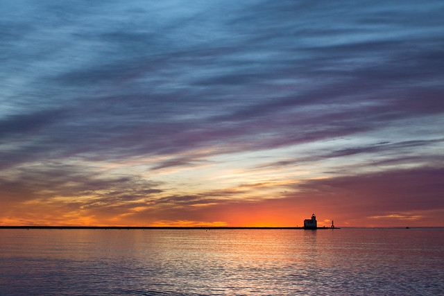 Sunrise, Dawn, Lighthouse, Lake Michigan