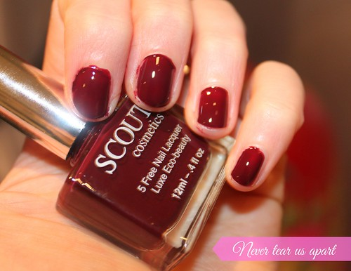 Scout Cosmetics Australian Beauty Review Nail Lacquer Ausbeautyreview blog blogger aussie honest never tear us apart dark red cherry swatch vibrant pretty beautiful polish 5 free style long lasting colour