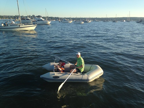 Rowing the dinghy with the kids