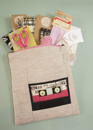 Cassette zippy pouch-stuffed with goodies
