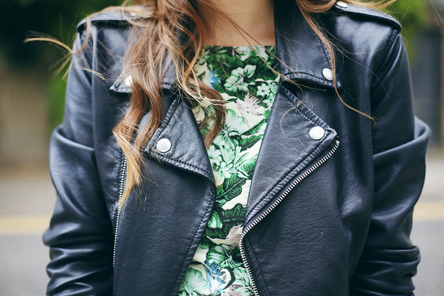 Leather Jacket Topshop Floral Top