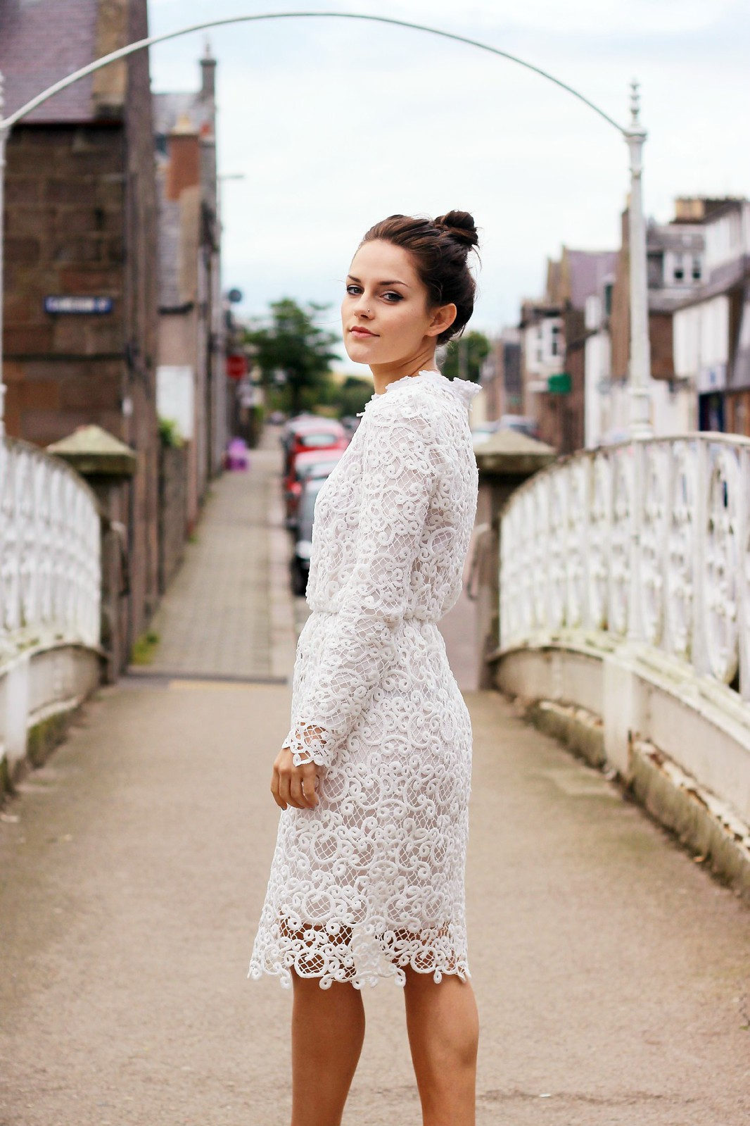 Dahlia white lace corinne dress 2