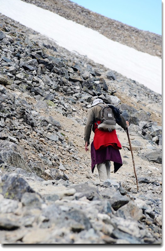 An old hiker on his way  to Grays Peak