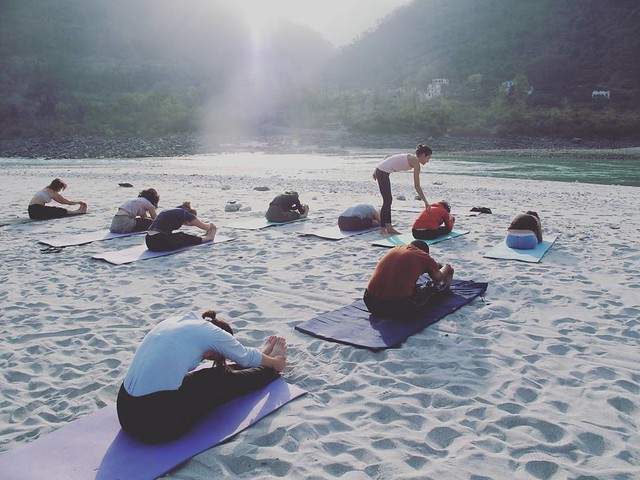 Morning Yoga Class near Holy Ganga River.