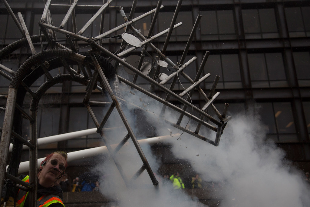 The 2017 dragon blew smoke and doubled as a musical instrument.