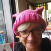 Sewing up my #pussyhatproject #pussyhat that took a night to knit and a month or more to sew up. I am neither a finisher nor a hat wearer! Ha!