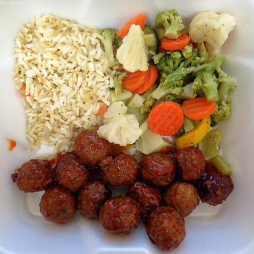 Square meal: Sweet & sour meatballs with rice pilaf and veggies