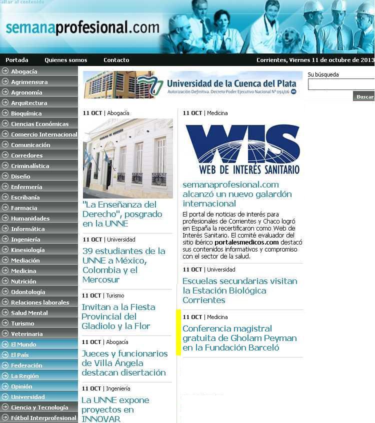 Site Semana Profesional (home)11-10-13