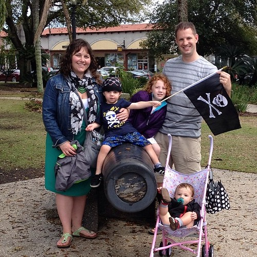 My pirate crew in a real pirate town. Beware the Spanish!  #stevensonpartyof5 #staugustine #florida