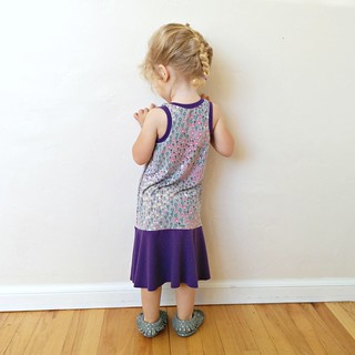 purple floral racer dress