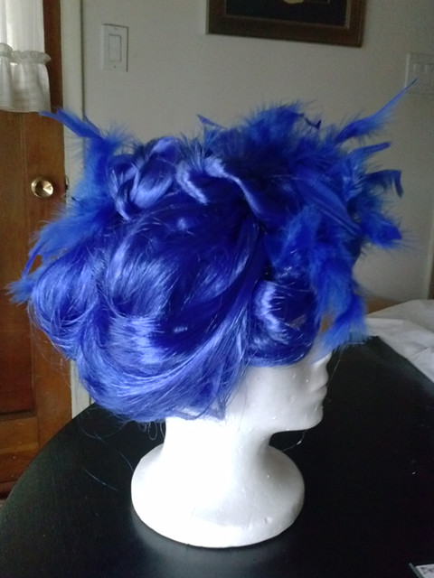 blue wig, side view