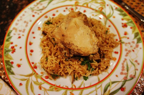 At Home:  Chicken with Caramelized Onions & Cardamom Rice