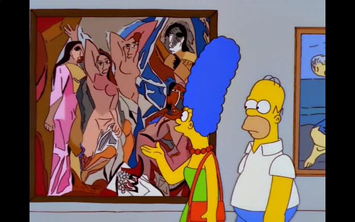 Marge and Homer at the art gallery
