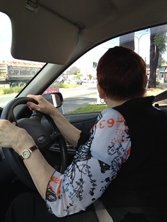 Ann driving us to next op shop