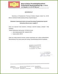 Referencje Bieruńskiego Przedsiębiorstwa Inżynierii Komunalnej Sp. z o. o. 2005r.