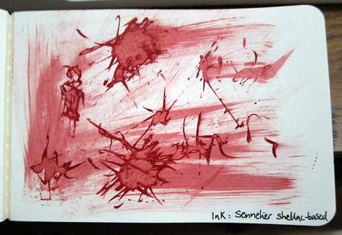 Moleskine Art Plus sketch album tests: Sennelier shellac based ink