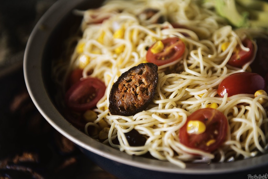 Angel Hair Pasta Salad with Corn and Chorizo