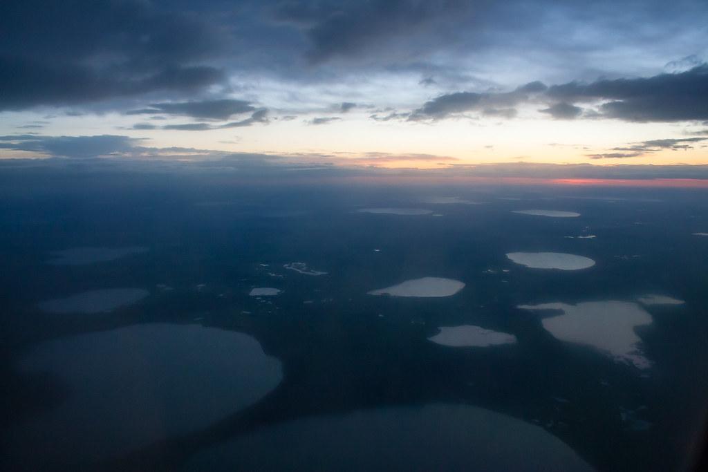 Москва. Полет обратно. Озера близ Челябинска Под нами (самый большой на фото) Касарги, чуть выше и левее Курги, справа Узункуль