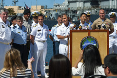 Adm. Harry Harris, commander of U.S. Pacific Fleet, takes a question from a reporter during a press conference announcing the beginning of exercise Rim of the Pacific (RIMPAC) 2014. (U.S. Navy/MC2 Diana Quinlan)