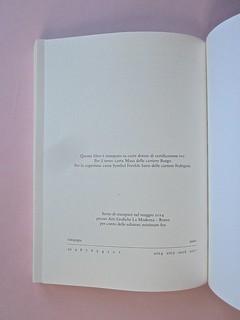 Come finisce il libro, di Alessandro Gazoia (Jumpinschark). minimum fax 2014. Progetto grafico di Riccardo Falcinelli. Pagina dello stampatore al verso della carta di guardia: a pag. 224 (part.), 1